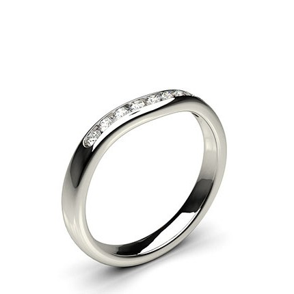 Channel Set Curved Round Wedding Band