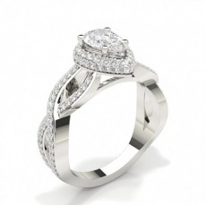 Pear Halo Engagement Rings