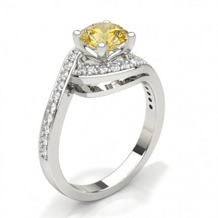 White Gold Round Yellow Diamond Engagement Ring