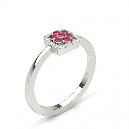 Round Cluster Ruby Ring