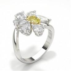 Yellow Diamond Flower Design Halo Fashion Ring