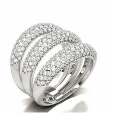 Three row Round Diamond Fashion Ring