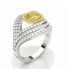4 prong Yellow Diamond Halo Fashion Ring
