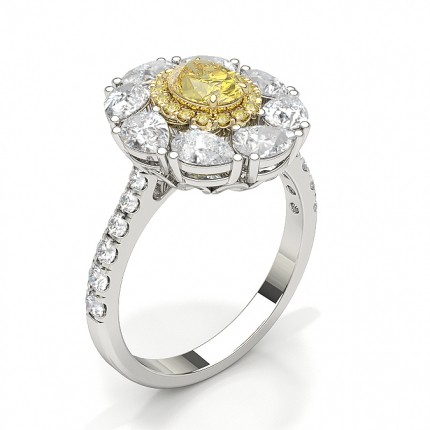 Yellow Diamond Floral Halo Engagement Ring