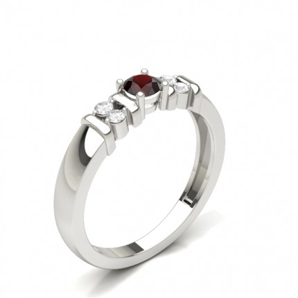 Ruby Round White Gold Engagement Ring