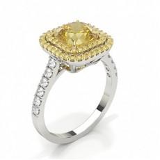 White Gold Halo Yellow Diamond Engagement Ring