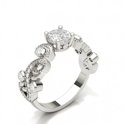 Round Side Stone Diamond Engagement Ring